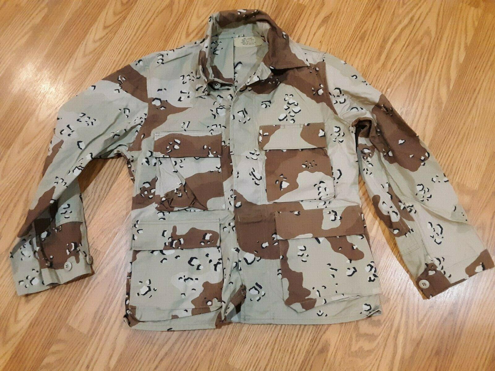 US Army Jacket Combat Coat 5 color Choc Chip Desert Camo small XX Short EUC - $32.62