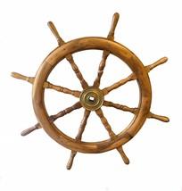 "Antique Vintage Wooden Brass Ships Wheel Ship Steering Wheel Large 38"" - $445.50"