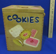 Vintage Square Wooden Cookie Canister Container w/ Lid Cookie Decal Design - $12.86