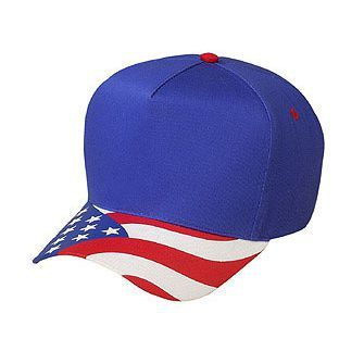 OTTO United States Flag Pattern Visor Cotton Twill 5 Panel Low Crown  Baseball Ca 805b051afce6