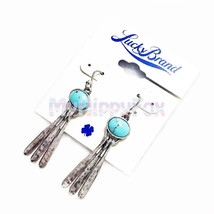 Lucky Brand Antiqued Silver Tone Turquoise Stone Peacock Tail Drop Earrings - $17.99