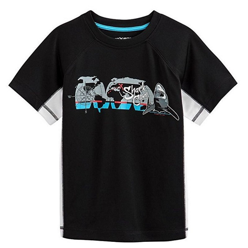 Small 4 Boy's Rashguard Shirt ZeroXposur Surf Top Swim UPF50+ Shark Cove