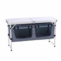 Outdoor Folding Table Aluminum Lightweight Height Adjustable Storage Org... - $105.01