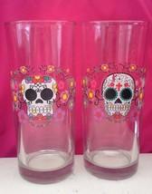 Pair of Dia de los Muertos Glasses Clear Glass Tumblers Colorful Motif - $22.00
