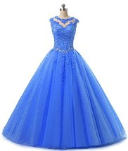 Lace Appliques Ball Gown Evening Prom Dress Beading Sequined Quinceanera Dresses - $148.99