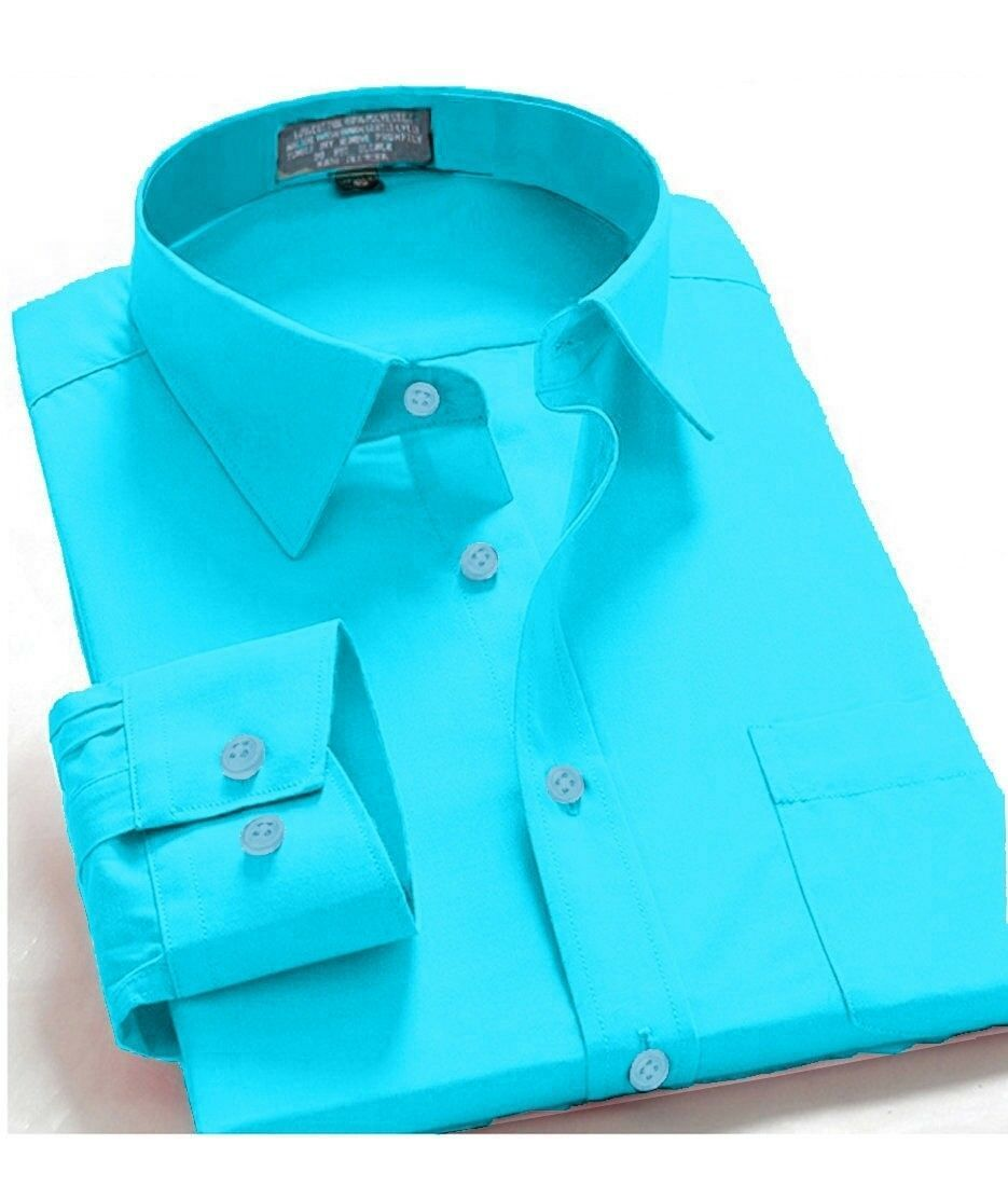 Oxford Men's Regular Fit Long Sleeve Solid Casual Dress Shirt Aqua