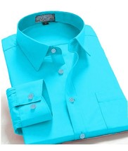 Oxford Men's Regular Fit Long Sleeve Solid Casual Dress Shirt Aqua - $16.99