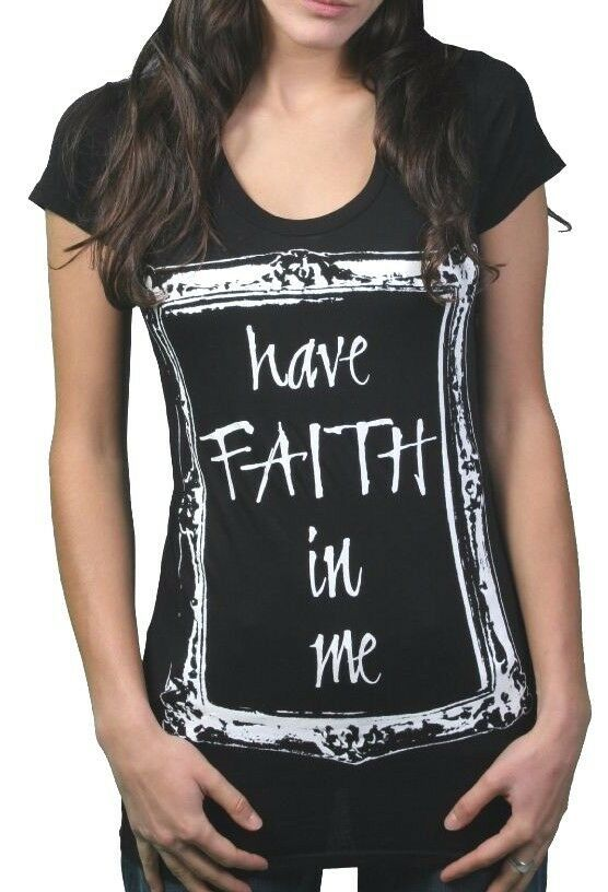 In Gods Hands Womens Black Have Faith in Me Crew Neck T-Shirt USA NWT