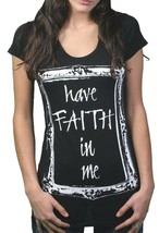In Gods Hands Womens Black Have Faith in Me Crew Neck T-Shirt USA NWT image 1