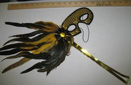 MARDI GRAS Mask Black and Gold Sequin Feathered - $8.00