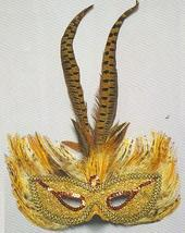 MARDI GRAS MASK GOLD & PHEASANT FEATHERS - $11.00