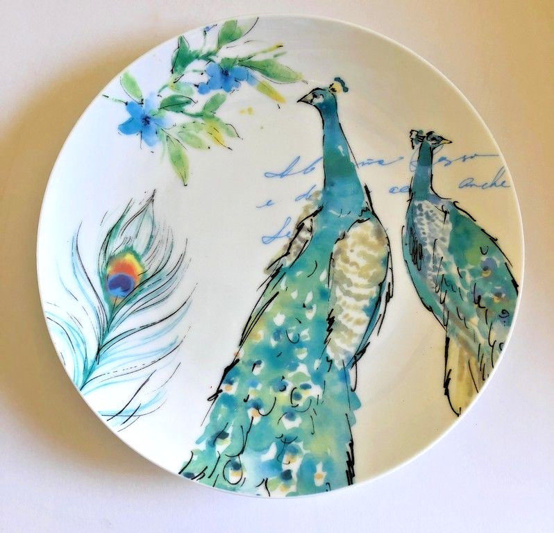 Peacocks Ceramic Plates Salad Dessert Lunch Bread Set of 4 Prima Design 8.5""
