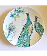 Peacocks Ceramic Plates Salad Dessert Lunch Bread Set of 4 Prima Design ... - $44.44