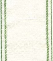 "28ct White Green border banding 3""w x 36"" (1yd) 100% linen  - $10.80"
