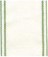 "28ct White Green border banding 3""w x 36"" (1yd) 100% linen  - $10.80"