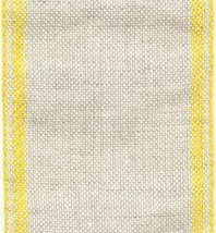 "28ct Natl Lite Yellow Border banding 3""w x 36"" (1yd) 100% linen  - $10.80"