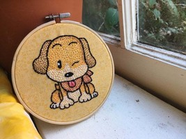 Harvest Moon Dog - Hoop Art - Beagle Puppy Cartoon - Embroidered Wall Ha... - $35.00