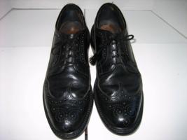 Men's DEXTER Black Leather Oxford Long Wing-tip Dress Shoes, Size 9 C - $55.00