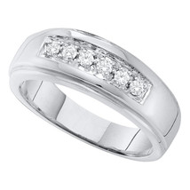 14k White Gold Mens Round Diamond Single Row Polished Wedding Band Ring 1/4 - $660.00