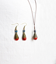 Vintage Boho National Style Teardrop Long Dangle Earring Necklace Set - $8.99