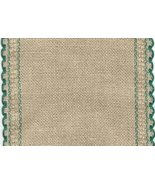 "24ct Natl Brown Green Scalloped Border banding 5""w x 36""(1yd)100% linen ... - $16.20"