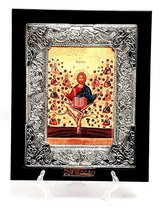 Large Silver Plated 925 Icon in Wood Frame From The Holyland Jerusalem - $29.30