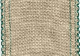 "24ct Natl Brown Green Scalloped Border banding 5""wx18""(1/2yd)100% linen ... - $8.10"