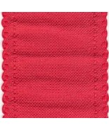 "24ct Red Scalloped Border banding 3.25""w x 36"" (1yd) 100% linen Zweigart - $12.60"