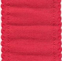 "24ct Red Scalloped Border banding 3.25""w x 18"" (1/2yd) 100% linen Zweigart - $8.10"