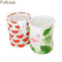 FULLLOVE® 40*50cm Ins Style Laundry Basket Linen Flamingo Print Books Dirty - $18.86