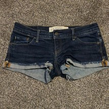 Abercrombie & Fitch Womens 00 W24  Dark Denim Cuffed Shorty Shorts - $19.99