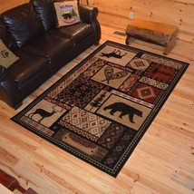 Lodge Cabin Southwestern Bear Deer Area Rug *FREE SHIPPING* - $52.50+