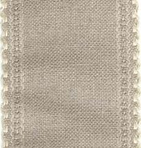"24ct Natl Ivory Scalloped Border banding 3.25""w x 36"" (1yd) 100% linen Z... - $12.60"