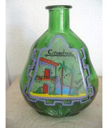 Green Painted  Liquor Bottle Green Glass Decora... - $35.99