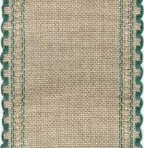 "24ct Natl Green Scalloped Border banding 3.25""w x 36"" (1yd) 100% linen Z... - $12.60"