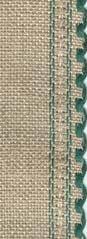 """24ct Natl Green Scalloped Border banding 3.25""""w x 18"""" (1/2yd)100% linen Zweigart"""