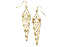 Premier Designs Jewelry STELLA Gold Tone Diamond Shape Fishhook Earrings... - $16.71