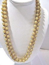 LONG FAUX PEARL PEARLY BEIGE COLOR LONG PLASTIC BEADED NECKLACE VINTAGE  - $38.00
