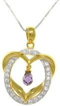 Jewelry Trends 14k Gold-plated Silver Heart Pendant with Round Ring Of C... - $40.00