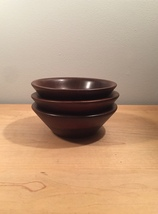 Set of 3 70s Ozark solid walnut salad bowls