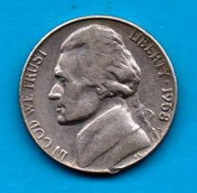 1968 S Jefferson Nickel - Circulated - Light Wear - About XF - $0.10