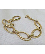 Monet Double Links Chain Bracelet Toggle Catch Signed Goldtone Metal - $6.95