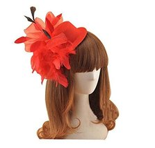 Beautiful Charming Feather Hairpin for Parties/Stage/Wedding,Hat,Red