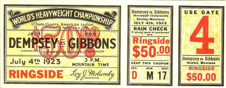 Primary image for 1923 jack dempsey vs gibbons boxing postcard championship fight ticket 1962