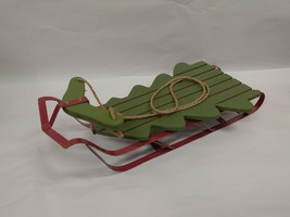 "Vintage Wooden Snow Sled w/Metal Runners 20"" Long Green Winter outdoor/Indoor - $18.89"