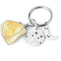 Custom Libra Keychain, Raw Stone Keychain Hammered Libra Key Chain, Pers... - $6.93