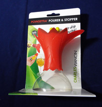 Charles Viancin Silicone Red Poinsettia Pourer Bottle Stopper Christmas ... - $23.99