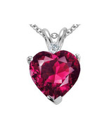 7MM OR 9MM HEART SHAPE RUBY PENDANT SOLITAIRE 14K WHITE GOLD SETTING - $43.05+
