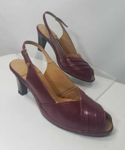 HUSH PUPPIES ANKLE STRAP OPEN TOES RED WINE HEELS Size 8.5 US LEATHER UPPER