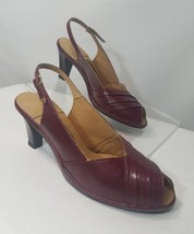 HUSH PUPPIES ANKLE STRAP OPEN TOES RED WINE HEELS Size 8.5 US LEATHER UPPER - £11.09 GBP
